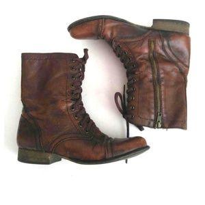 STEVE MADDEN Women's Brown Combat Boots Sz 9.5